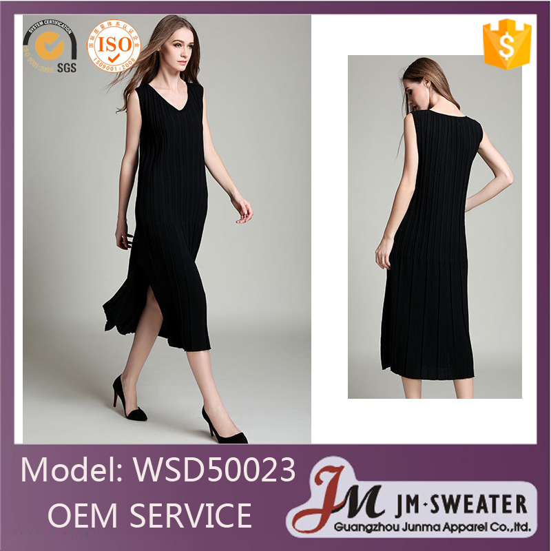 Classics design knitted plain black korean long dresses new fashion lady dress