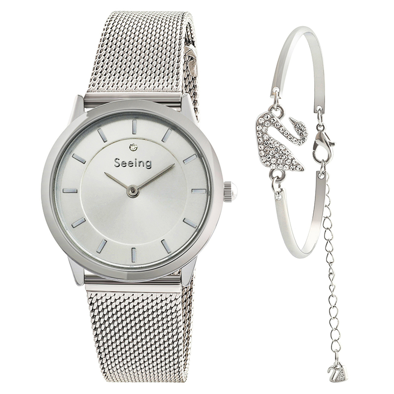 Wholesaler simple minimal stainless steel lady watch bracelet water resistant woman wristwatches gift set bag packing фото