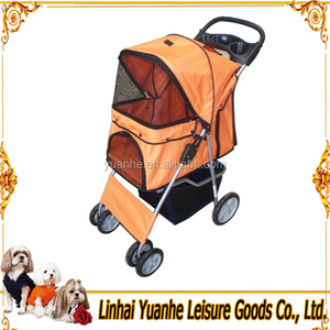 orange 4 wheels pet stroller/pet trolley