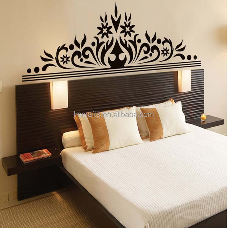 2015 great romantic Black flowers crown design removable wall sticker decal The sitting room /Living /bedroom stickers JM7268