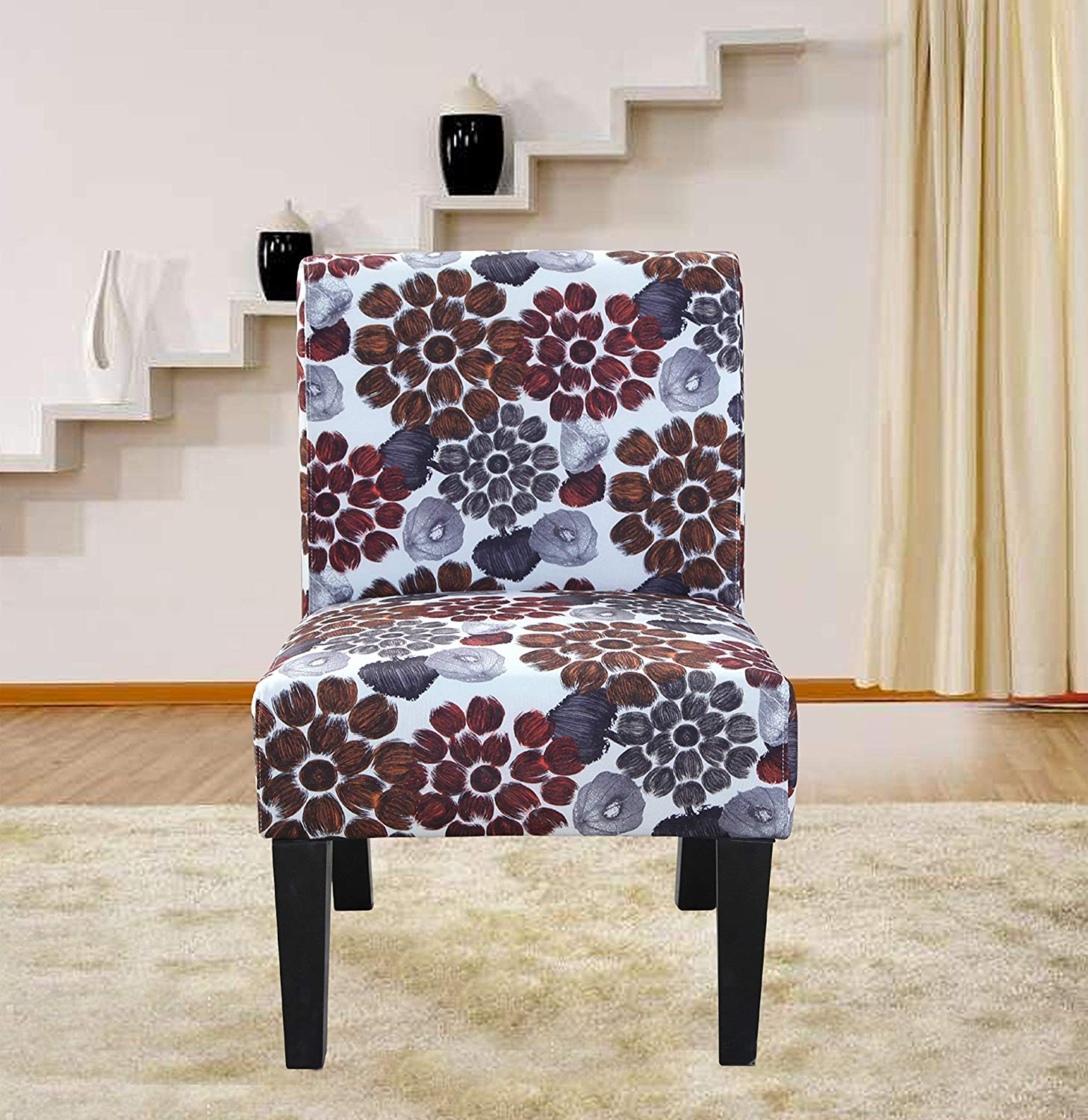 Container Direct Furniture Grace Flower Patterned Fabric Accent Chair, Orange, Regular