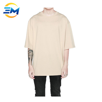Wholesale custom men drop shoulder half sleeve oversized plain tshirt in  cream color bdc445d9f