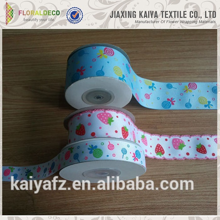 Character custom logo cheap grosgrain ribbon printer