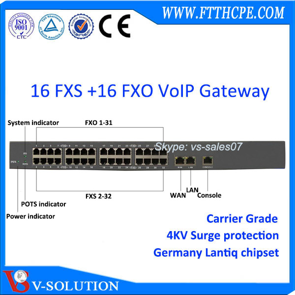 IP phone gateway with 16 FXO FXS port SIP ATA voip adapter