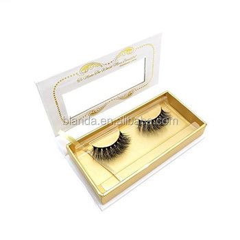 Private label Cotton Band 3D Style Lashes Made Of Real Mink Fur With False Eyelash box