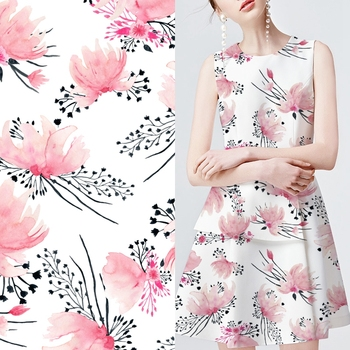 Personalized digital printing textile polyester flower printed dress fabric