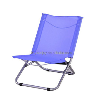 Outdoor Easy Carry Reclining Steel Mesh Deck Portable Small Folding Beach Chair