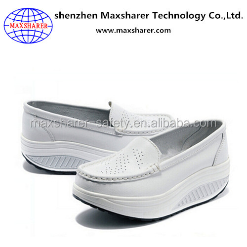 white color leather 2-5cm high heel ladies daily wear height increasing shoes