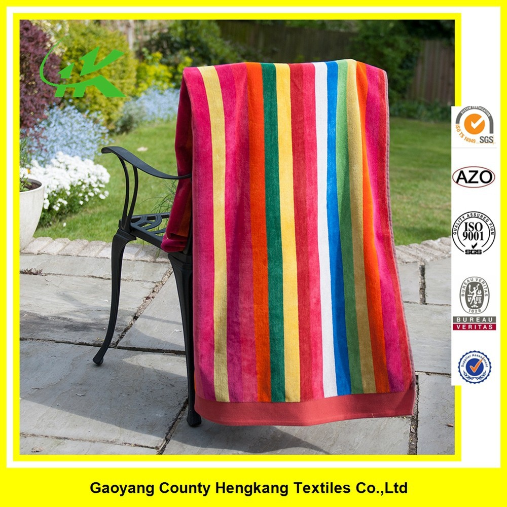 China Wholesale Cabana Stripe Beach Towel of Cotton Fabric