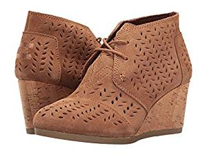 1897645dbca TOMS Desert Wedge Bootie Toffee Suede Perforated Leaf Women s Wedge Shoes
