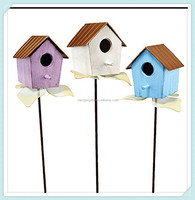 Wood and iron yard garden decor birdhouse stakes
