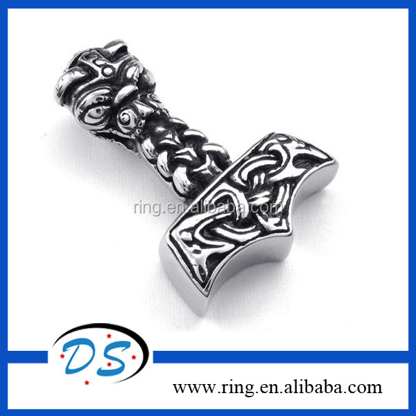 Fashion 316LStainless Steel Men Punk Thor Hammer Pendant Necklace