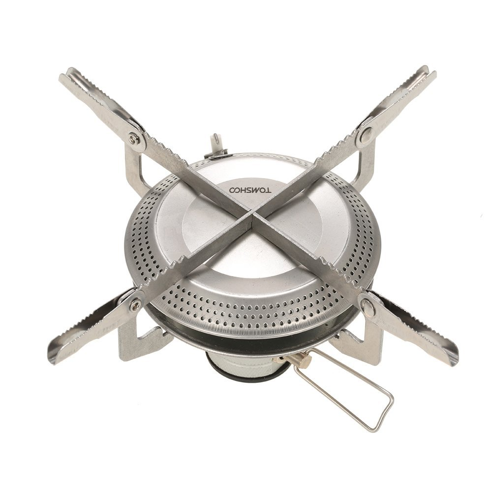 TOMSHOO Ultralight Camping Folding Gas Stove Hiking Outdoor Backpacking Picnic Cooking Stove Portable Burner Piezoelectric Ignition