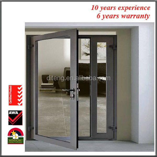 Lobby Entrance Door, Wood Patio Sliding FrenchFolding Door With Clear Frosted Tempered Glass