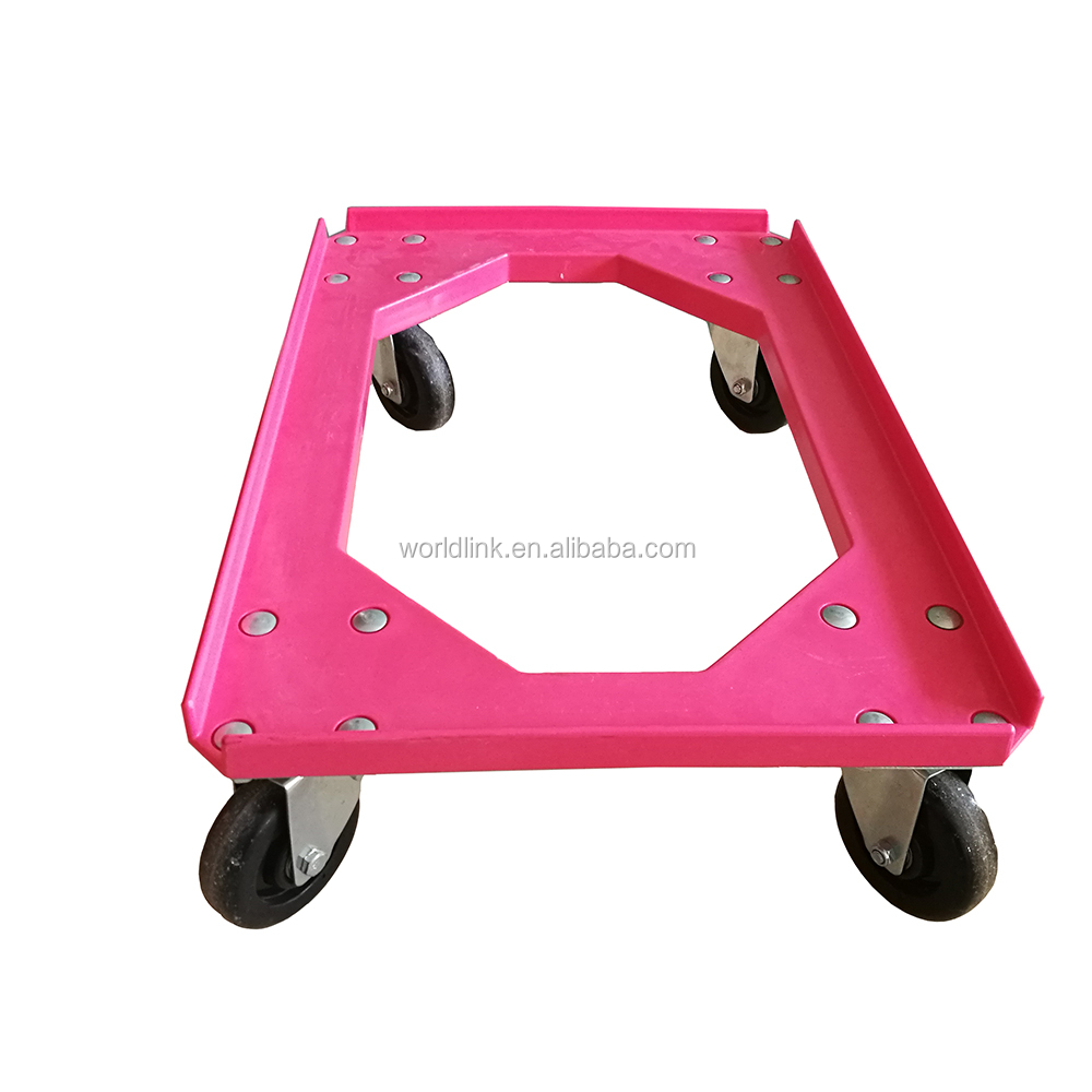 Heavy Duty 4 Wheels Stackable Plastic Bread Crate Dolly