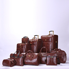 Men pu leather brown Suitcase Rolling Luggage Tote Bag Set