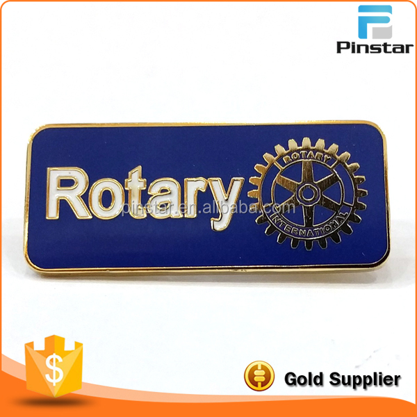 Gold Finished White and Blue Rotary International Lapel Pin