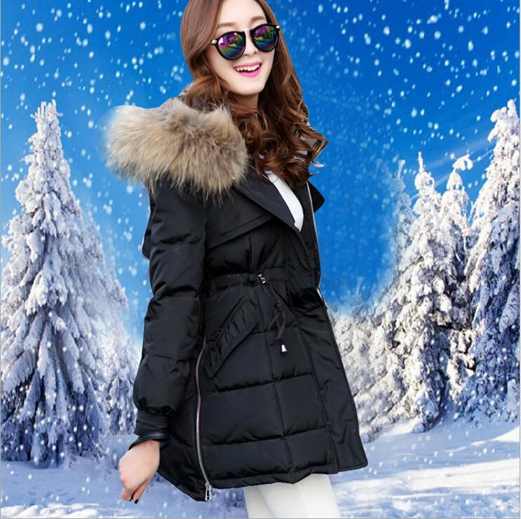 Новые поступления 2015 женщин зимы меховой воротник белая утка пуховик добавить толстые тонкий съемный пуховик с капюшоном Y83
