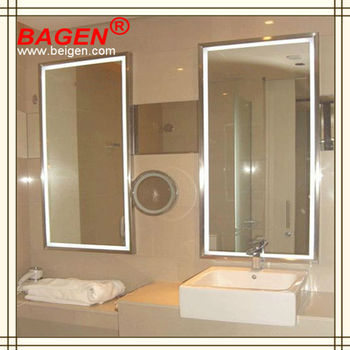 framed mirror with light lighted backlit mirror16 years supply for luxury hotels
