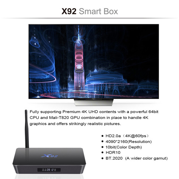 2019 New design Pendoo x92 S912 2G 16G android 7.1 smart tv box with best quality from Dragonworth factory