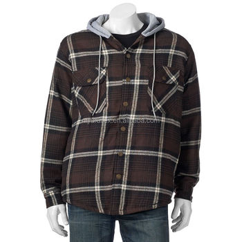 Men S Plaid Flannel Hooded Shirt Jacket With Quilted Lined Buy Fur