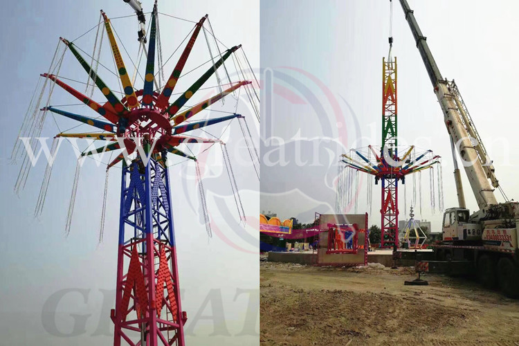 Thrilling outdoor theme park rides adult games machine free fall flying tower for sale