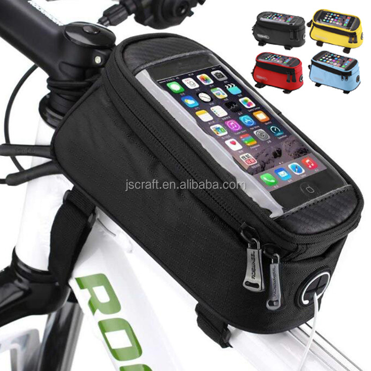 RockBros Bike Bicycle Handlebar Bag For 5.5 Touch Screen Cell Mobile Phone Blue