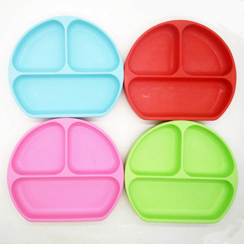 factory direct silicone baby divided plates bpa free suction
