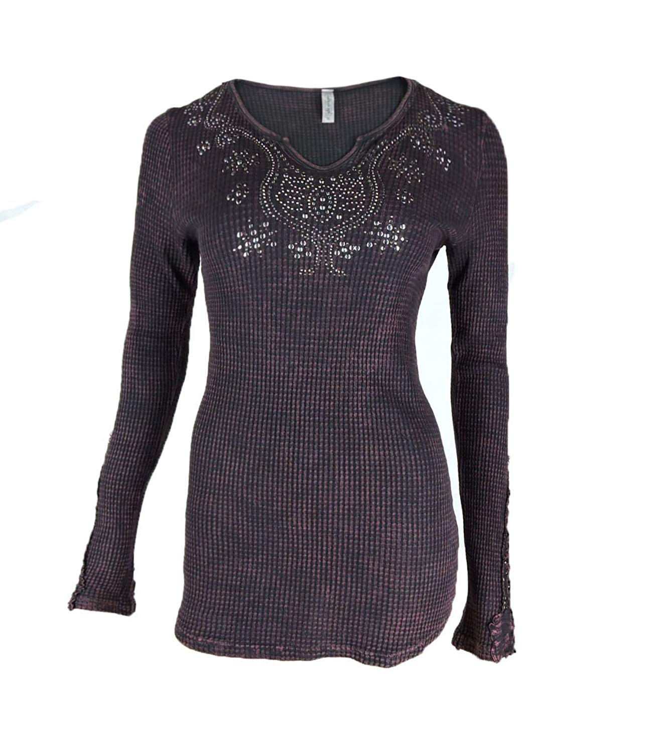 240ec9cc0e80 Get Quotations · Vocal American Age Women Tunic Shirt Lace Sleeves Tribal  Rhinestone Cowgirl Mineral Wash