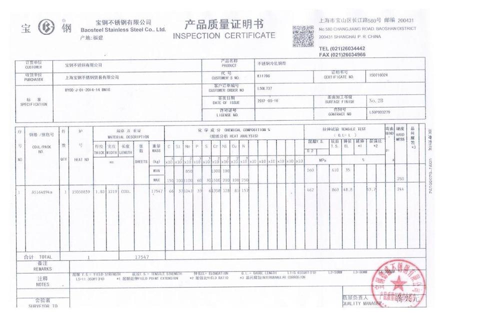 Mill Test Certificate Stainless Steel 304 Sheet 15mm Buy