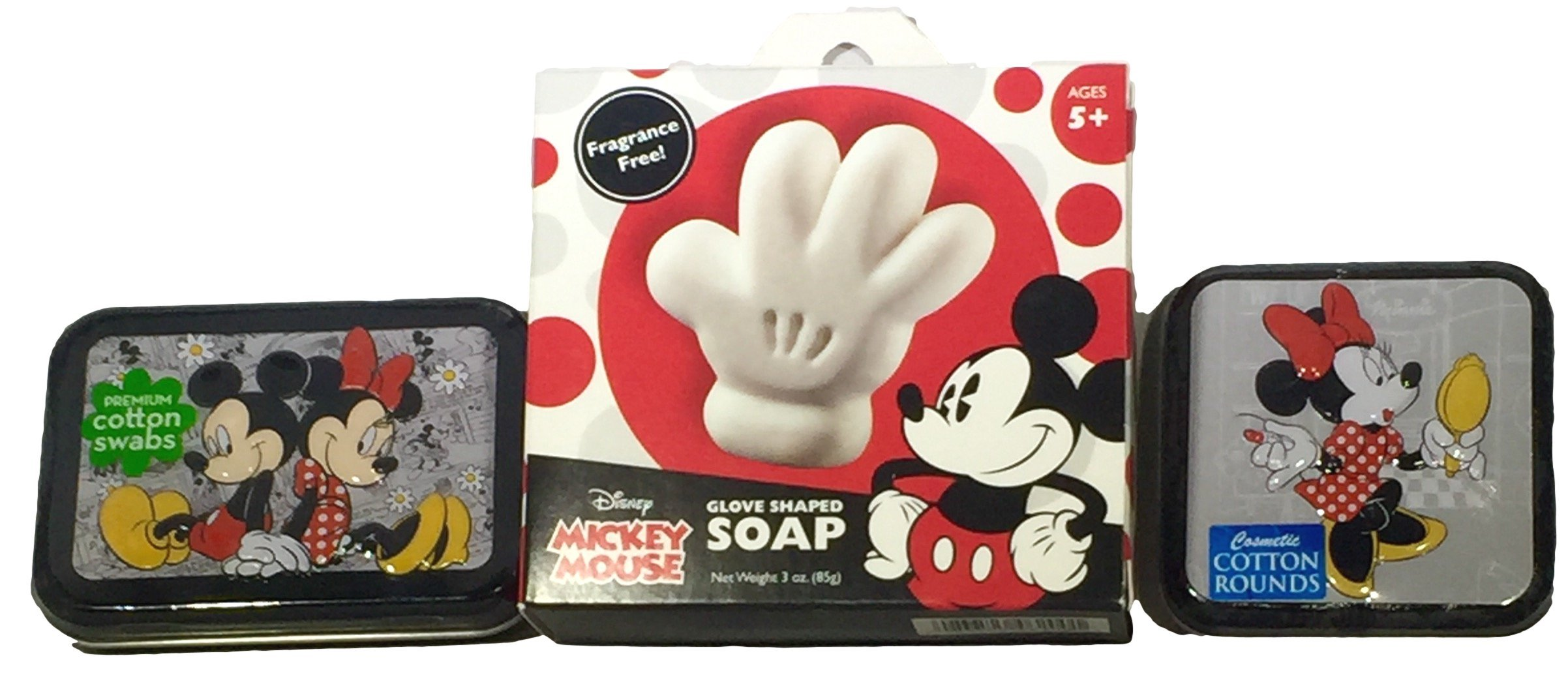 Disney Mickey and Minnie Mouse Soap and Cotton Swab Cosmetic Cotton Round Set Collectible Tins