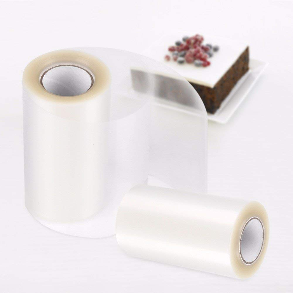 2 Rolls Acetate Sheets Cake Collar Mousse Cake Decorating Edge Wrapping Tape for Baking DIY(4 X 4 Inch)