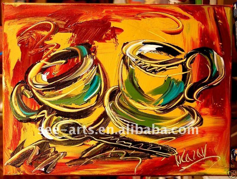 Tazas De Caf Pintura Al Leo Arte De La Pared Para Sala