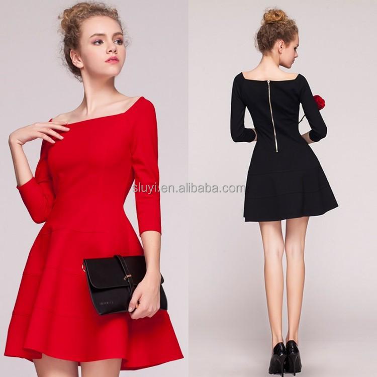 la mode femmes v tements look classique chic style robe femmes long manches rouge vif sexy. Black Bedroom Furniture Sets. Home Design Ideas