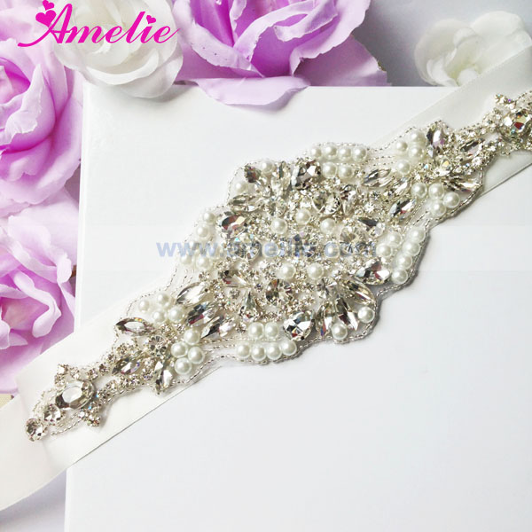 Ivory Pearl And Crystal Bridal Dress Belt