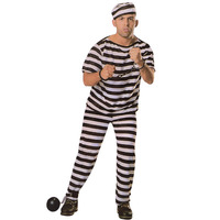 Factory spot costumes black and white striped round collar male prisoners suit adult performance clothing