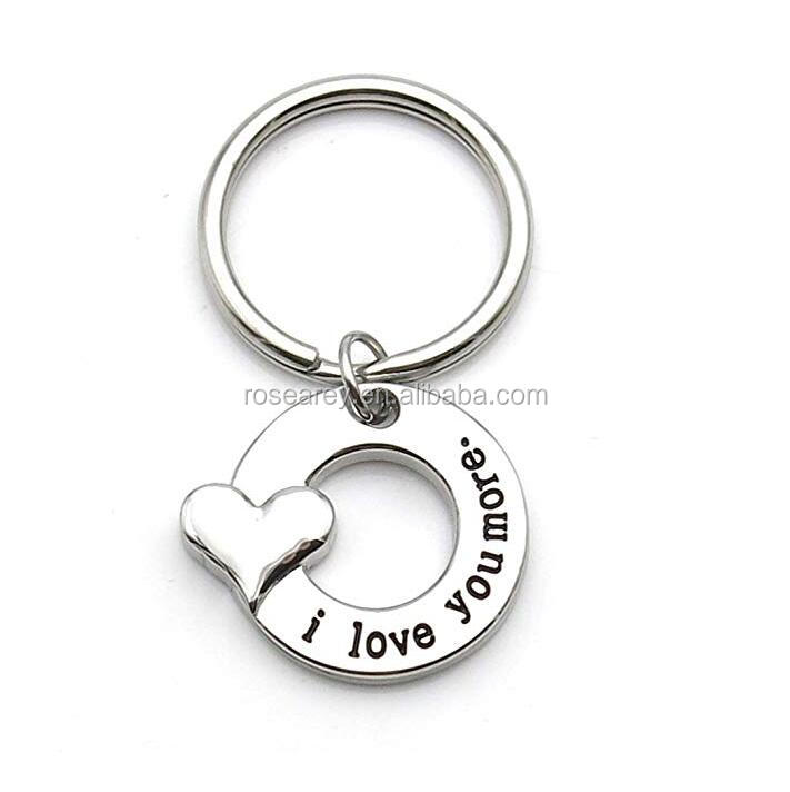 Stainless Steel Silver I Love You More Keychain Key Chain Mother Daughter Gift Girlfriend Boyfriend Gift