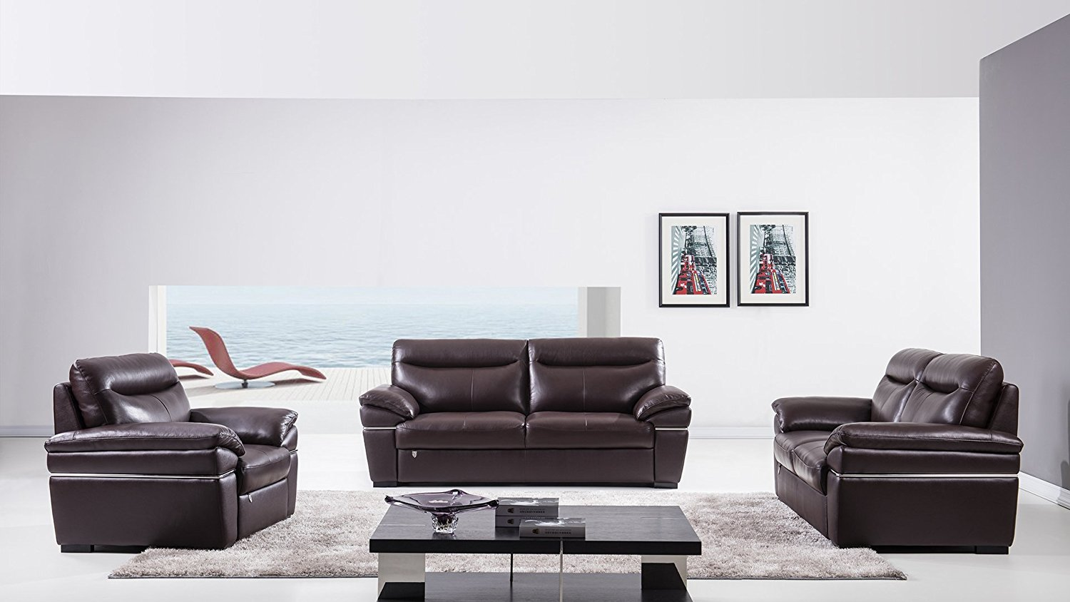 American Eagle Furniture Morris Collection 3 Piece Leather Sofa Set with Sofa, Love Seat and Leather Armchair, Dark Brown Chocolate