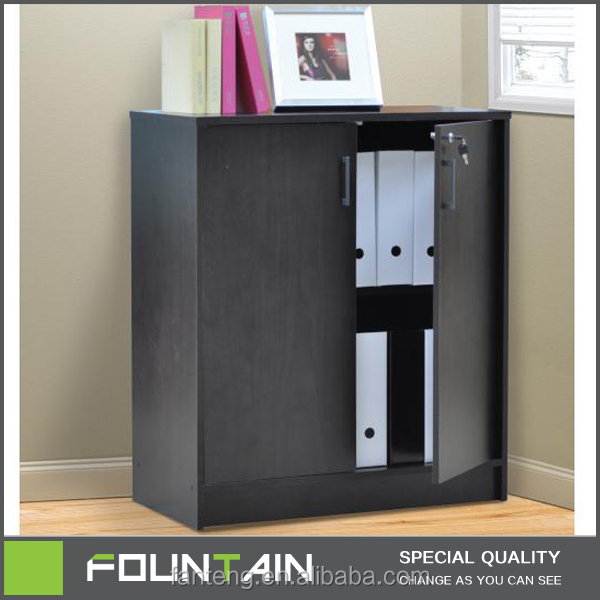 Decorative PU Paper Office Storage Two Door Cabinet Wooden Furniture Bookcase