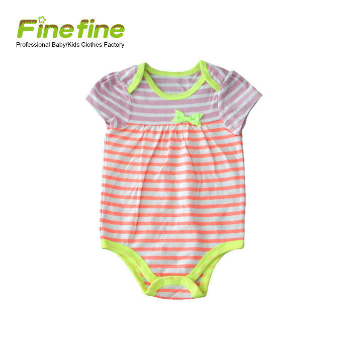 Customised Cute Baby Girl One Piece Cotton Baby Romper Bodysuit With Bow