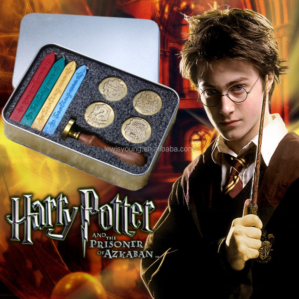 New desige Harry potter of four college production wax sealing and wood stamp in tinplate box