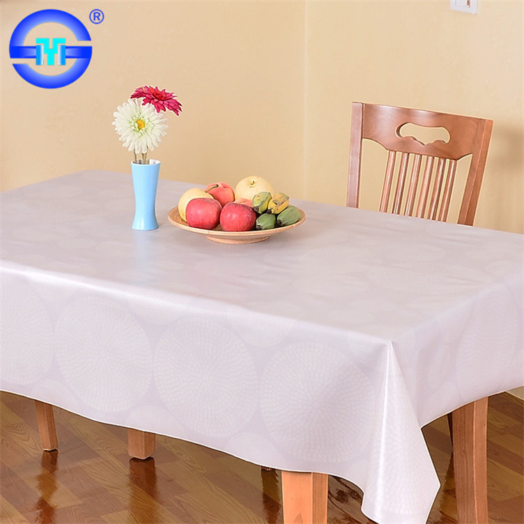PVC high quality white round table cloths for wedding party white table cloth material