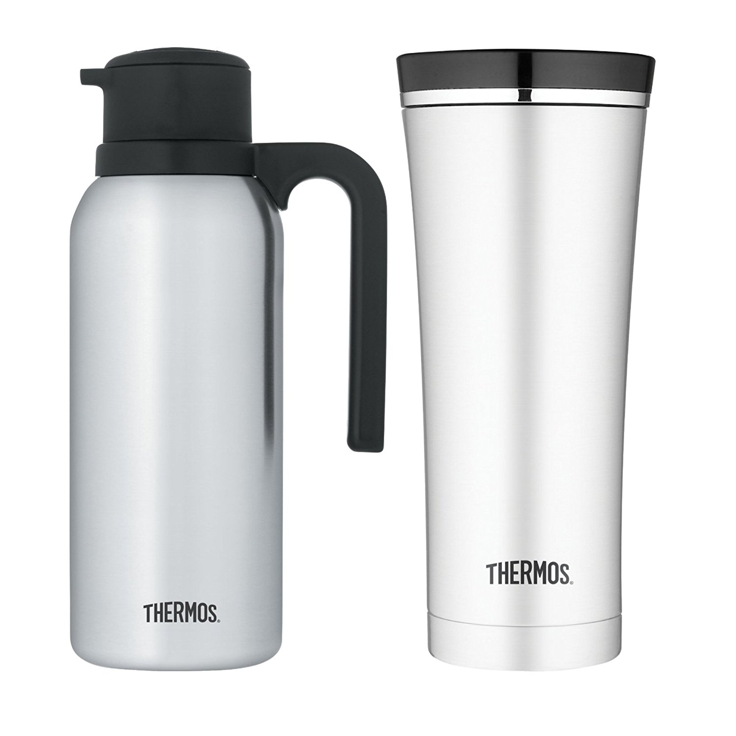 c90f98c555b Get Quotations · Thermos Stainless Steel Vacuum Insulated 32oz Carafe w/ Travel Tumbler Bundle