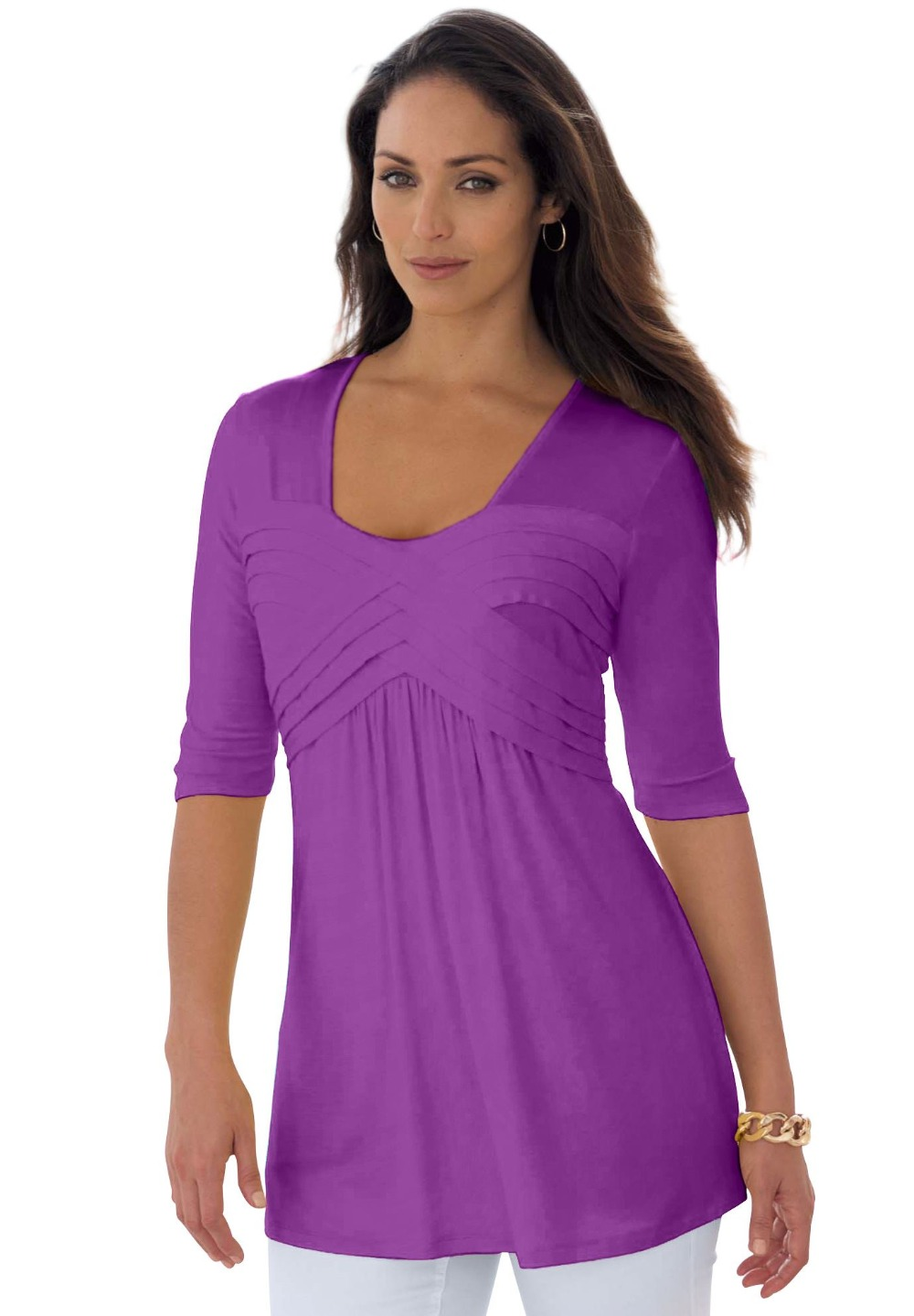 L 8XL Large Size Sexy Pleated Tunic T shirt Tee Top Shirt ...