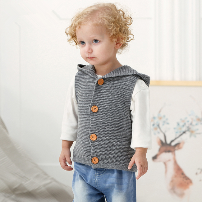 PHB14292 hooded ontwerp mode vesten plain baby vest