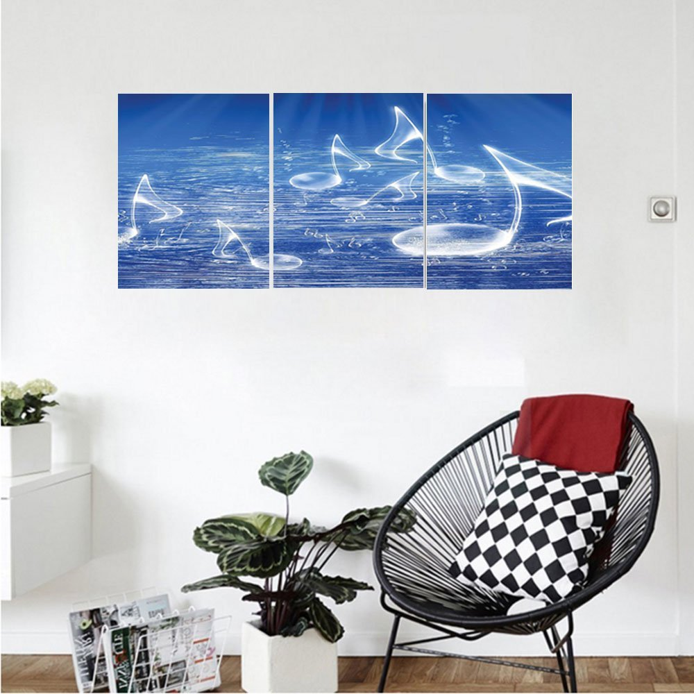 Liguo88 Custom canvas Music Decor Wall Hanging Magical Water with Musical Notes Bubbles and Dancing Waves Fantasy Music More Than Real Decor Bedroom Living Room Decor Blue
