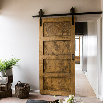 Shaker Style Stained 4 Panel Sliding Barn Doors For Home With Black Clic Wall Mounted Hardwares Four