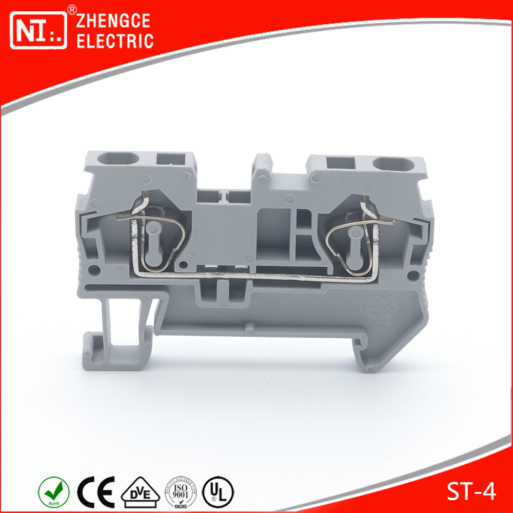 Dinrail Terminal Contact Spring ST - 4 Cable Wiring Connectors With VDE / ISO9001