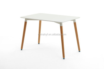 MDF Leisure White Table With Beech Wood Legs TB 01