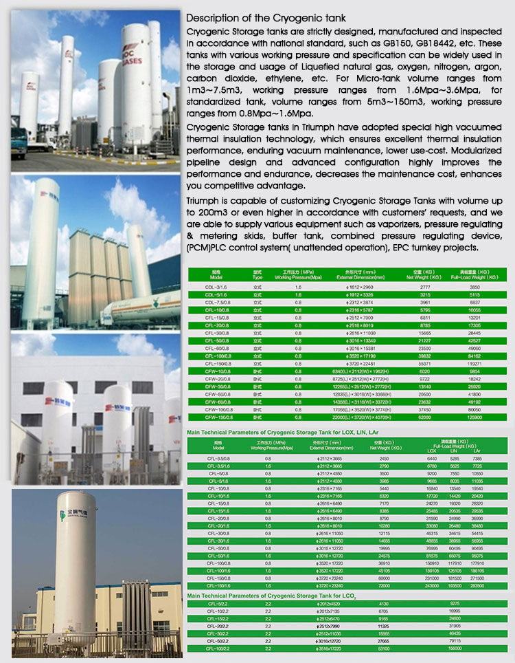 Cost price cryogenic liquid carbon dioxide storage oxygen tank